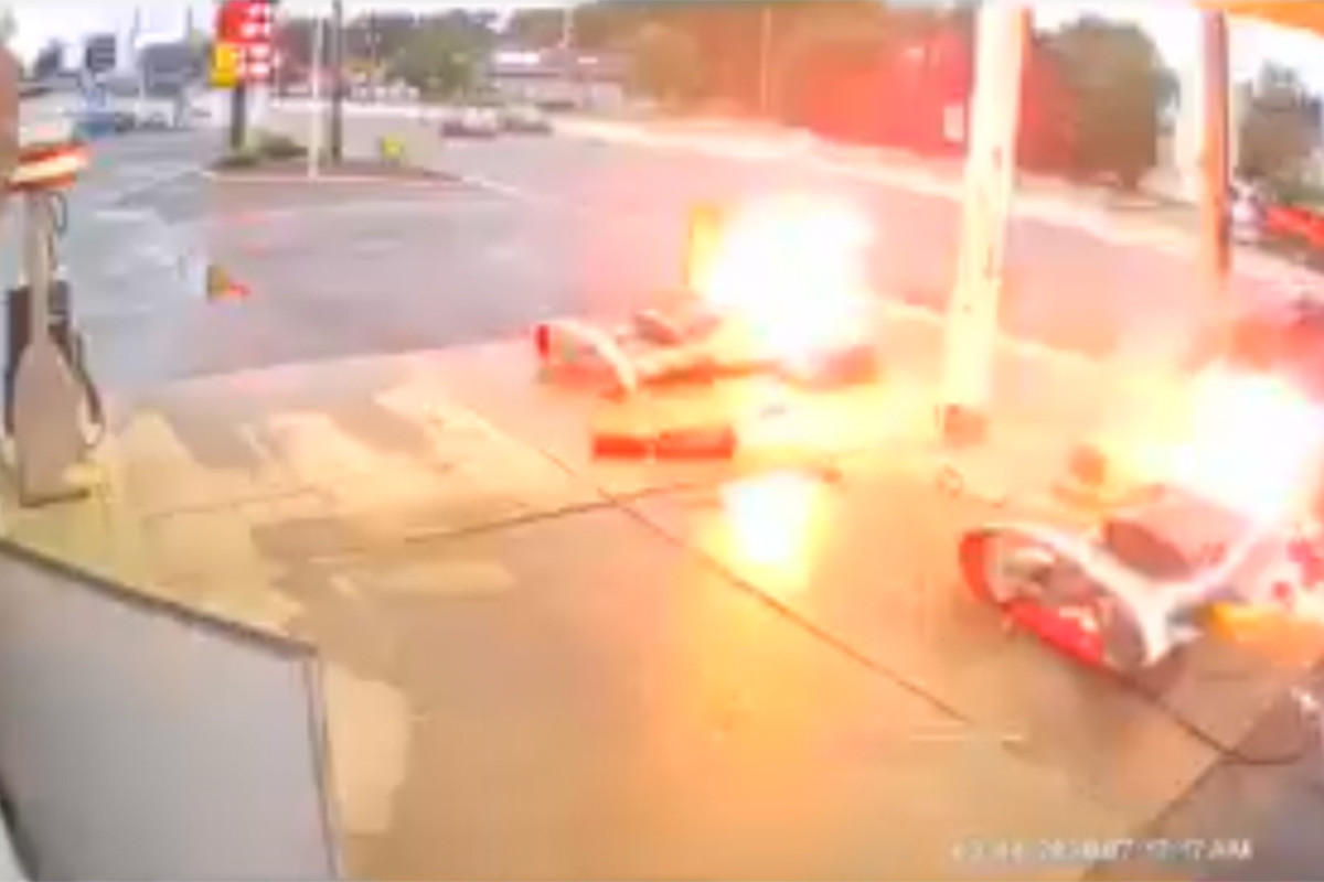 New Jersey gas station set ablaze after car crashes into fuel pumps