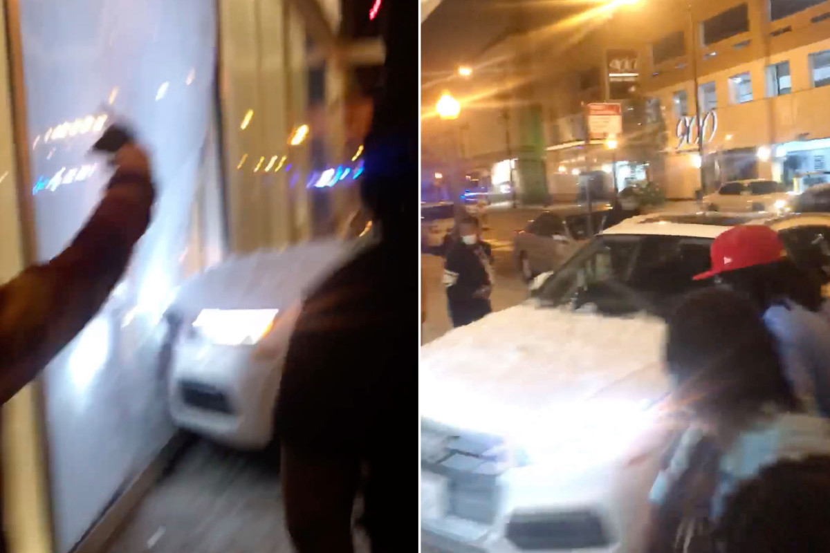 Video shows car ram into Chicago store amid citywide looting