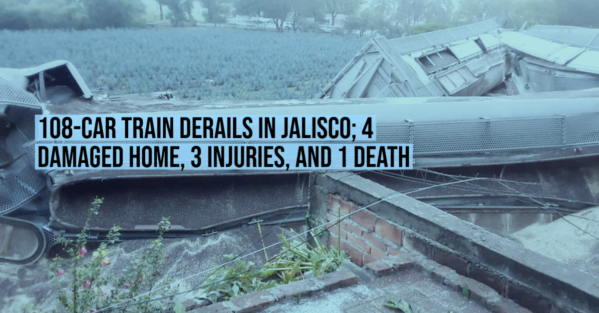 108-Car train derails in Jalisco; 4 damaged home, 3 injuries, and 1 death
